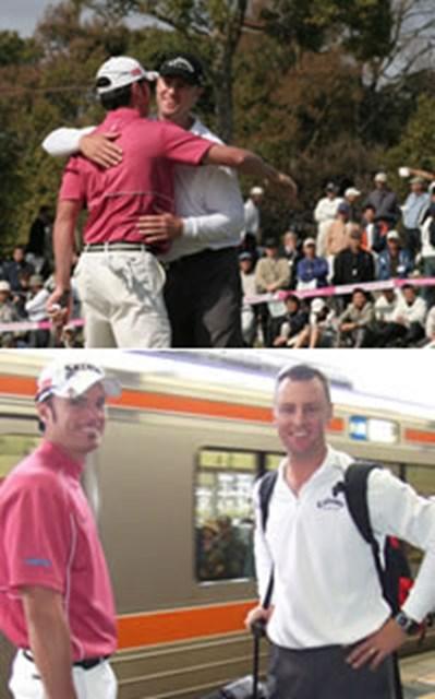 下:JR多治見駅にて。大親友のジョーンズ(=右)と次の開催地へ向かうパースキー