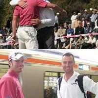 下:JR多治見駅にて。大親友のジョーンズ(=右)と次の開催地へ向かうパースキー 2006年 プレーヤーズラウンジ ウェイン・パースキー