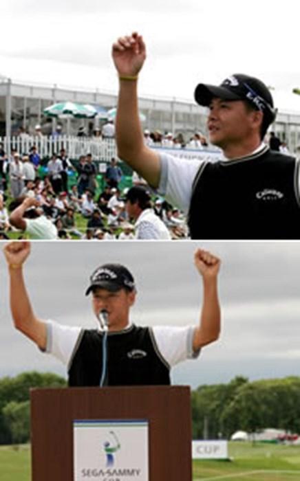 上:ウィニングボールは迷わず、満員のギャラリースタンドへ 下:「ホッカイドウがダイスキデス!」と日本語のヒーローインタビューでガッツポーズ 2006年 プレーヤーズラウンジ 葉偉志(よう・いし)