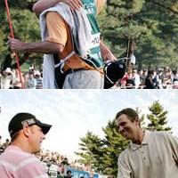 下:祝福に駆けつけてくれたブレンダン・ジョーンズと。「僕は、良い仲間に恵まれている。彼らがいるから、僕も頑張れる」(シーハン) 2006年 プレーヤーズラウンジ ポール・シーハン