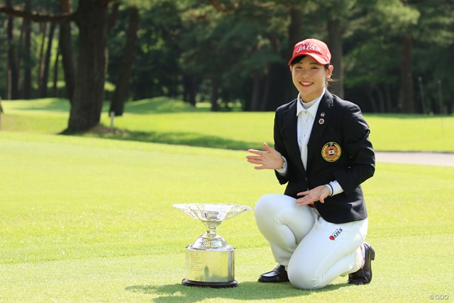 2018年 日本女子アマチュア選手権 最終日 吉田優利 優勝カップを別カットで