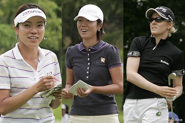 2006年 We Love KOBEサントリーレディスオープンゴルフトーナメント 3日目 大山志保 李知姫 N.キャンベル 8アンダーで並んだ大山志保、李知姫、N.キャンベルの3人(左から)。この中で最終日に飛び出す選手が現れるか!?
