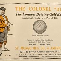 """当時にしては派手な色合いの広告。最大の売りは""""飛距離"""" ゴルフボール広告"""