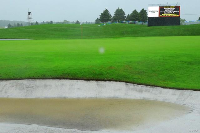 降雨により大きなダメージを受けたコース。72ホールを完遂できるのか