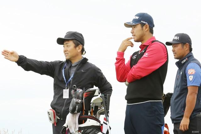 松山英樹は練習ラウンドで杉澤伸章キャディとコースチェック