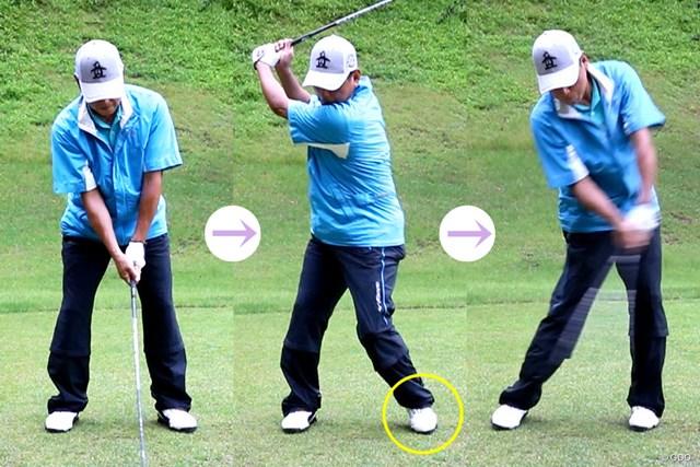 真弓明信さんは、左足でうまくステップしてタイミングをとっている