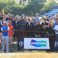 今大会一番の注目組 2018年 全英オープン 初日 ラッセル・ノックス タイガー・ウッズ 松山英樹