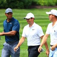 ウッズは歴代王者のマキロイ、トーマスとの3サムで大会をスタートさせた 2018年 全米プロゴルフ選手権 初日 タイガー・ウッズ ロリー・マキロイ ジャスティン・トーマス