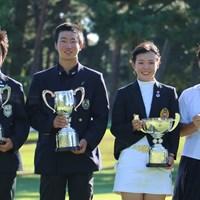 ジュニア日本一の栄冠を勝ち取った4人。吉田優利(右から2人目)は日本女子アマとの2冠を達成した 2018年 日本ジュニアゴルフ選手権 吉沢己咲 杉浦悠太 吉田優利 森愉生