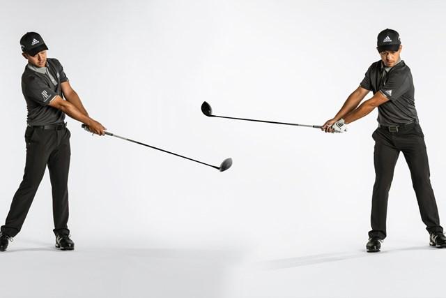 バックスイングの前に、クラブを前方へ振ると、テークバックの感覚が滑らかになる(Dom Furore/米ゴルフダイジェスト誌)