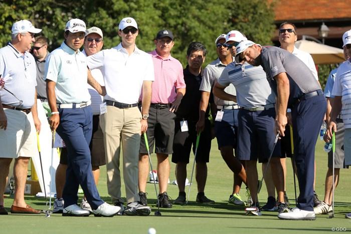 ツアー選手権の開幕前日はプロによるゴルフクリニック。松山英樹はレイシュマンとパターをレッスンした 2018年 ツアー選手権byコカ・コーラ 事前 松山英樹 マーク・レイシュマン