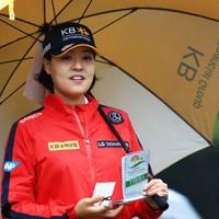 日本のファンもいっぱいのダンボちゃん 2018年 日本女子オープンゴルフ選手権競技 初日 チョン・インジ