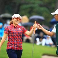 グータッチで~す 2018年 日本女子オープンゴルフ選手権競技 3日目 宮里美香