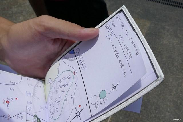 細かな情報が書き込まれた中島啓太のヤーデージブック
