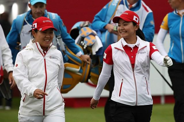 畑岡奈紗&上原彩子はスウェーデンペアに勝利した(Chung Sung-Jun/Getty Images)