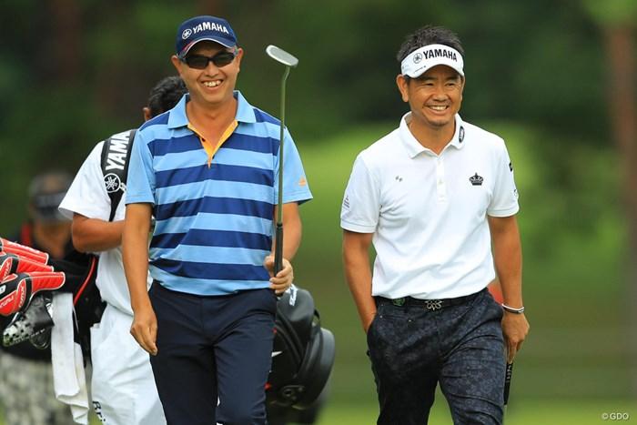 2人ともイイ笑顔だねぇ。 2018年 ブリヂストンオープンゴルフトーナメント 初日 谷口徹 藤田寛之