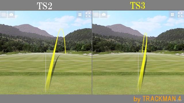 TS3のほうがややドロー弾道