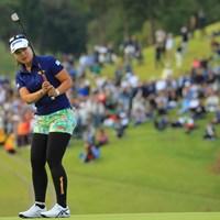 最終18番、惜しくもバーディ締めはならず。 2018年 樋口久子 三菱電機レディスゴルフトーナメント 最終日 ささきしょうこ