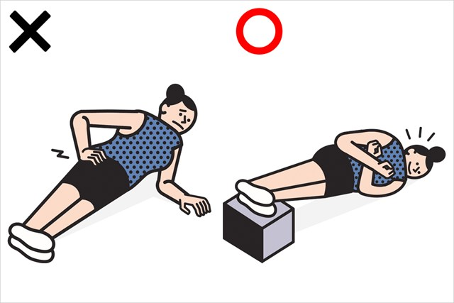 左は標準的なサイドプランク、右が腕を使わないサイドプランク(Rami Niemi/米ゴルフダイジェスト誌)