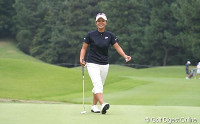 2005年 日本女子オープンゴルフ選手権競技 事前 宮里藍 「時差ぼけなどもまったくありません」と練習ラウンドでの宮里藍は、終始笑顔で帰国直後の疲れなどまったく見せなかった。