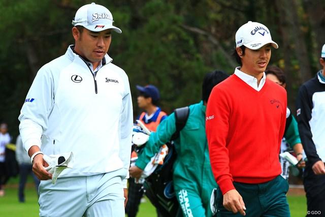 同組でプレーした松山英樹(左)と石川遼はともに1アンダー