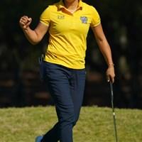 6番で気合い満点のガッツポーズ! 2018年 LPGAツアー選手権リコーカップ 最終日 成田美寿々