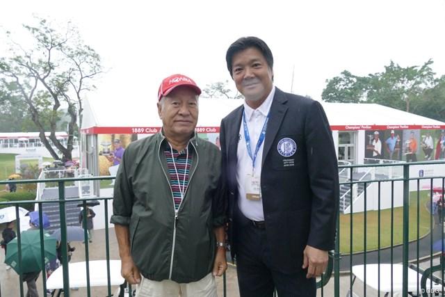 香港日本人倶楽部ゴルフ同好会の北村功さん(左)と香港ゴルフ協会の西剛弘会長