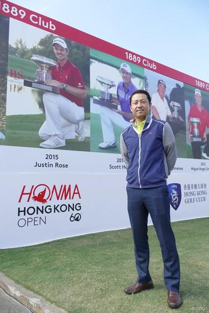 ホンマ香港オープンの会場を訪れた本間ゴルフ取締役の菱沼信之氏
