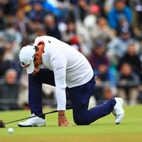 初優勝を逃した堀川未来夢。最終18番のパーパットを外して片ひざを落とした 2018年 ゴルフ日本シリーズJTカップ 最終日 堀川未来夢