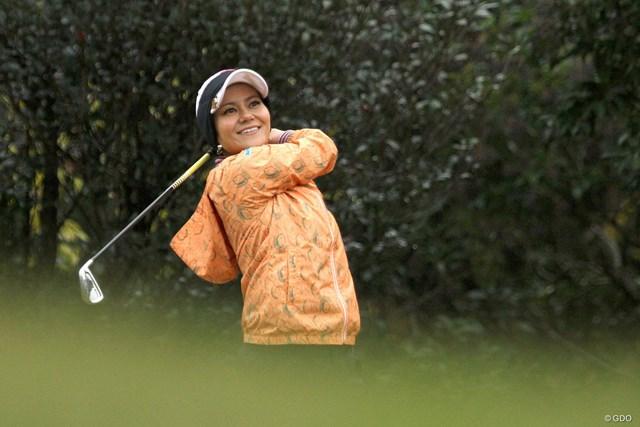 ゴルフイベントに参加した宮里藍さん。一カ月半ぶりにクラブを握った