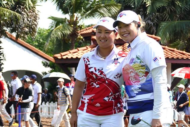 最終組で戦った畑岡奈紗とアリヤ・ジュタヌガン。畑岡が世界ランク1位に勝利した
