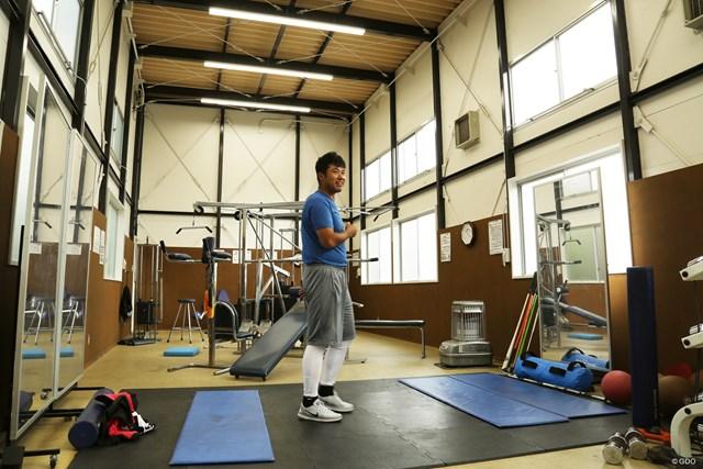 東北福祉大ゴルフ部が使うトレーニングルーム