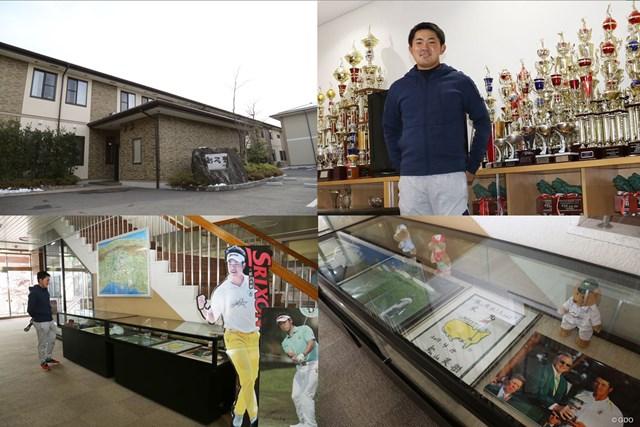 ゴルフ部の寮(上段)にはトロフィーなどがズラリ。東北福祉大のキャンパスには松山英樹がマスターズに出場した際の記念品が陳列されている