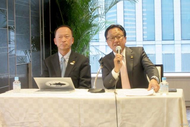 会見に出席した倉本昌弘PGA会長