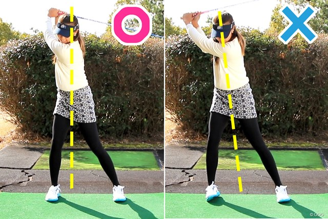 プロの体重移動(左)、アマの体重移動(右)