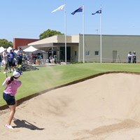 18番の3打目はこの難しいライから反対側にこぼしてしまう 2019年 ISPS HANDA オーストラリア女子オープン 初日 山口すず夏