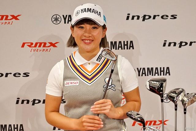 2019年 永井花奈 ヤマハと用具契約を交わした永井花奈。お気に入りはアイアンです!