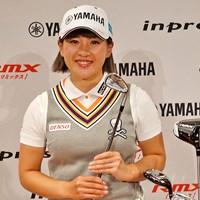 ヤマハと用具契約を交わした永井花奈。お気に入りはアイアンです! 2019年 永井花奈