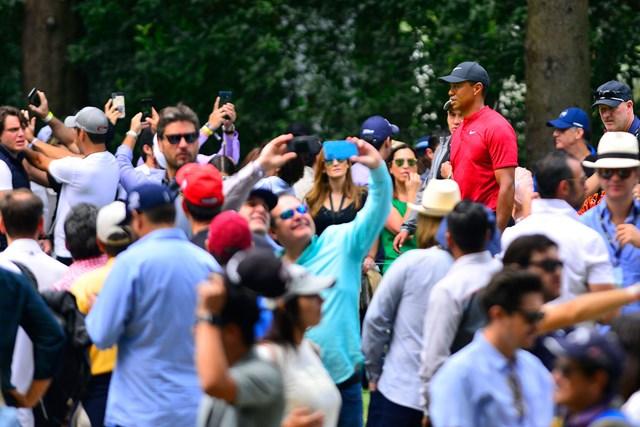 ウッズはメキシコでも大人気。スマートフォンを手にする大観衆に包まれ続けた(Jam Media/Getty Images)