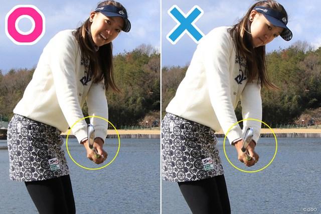 90度から90度のハーフスイング練習法 エイミー・コガ 45度ではフェース面への意識が強すぎてしまう