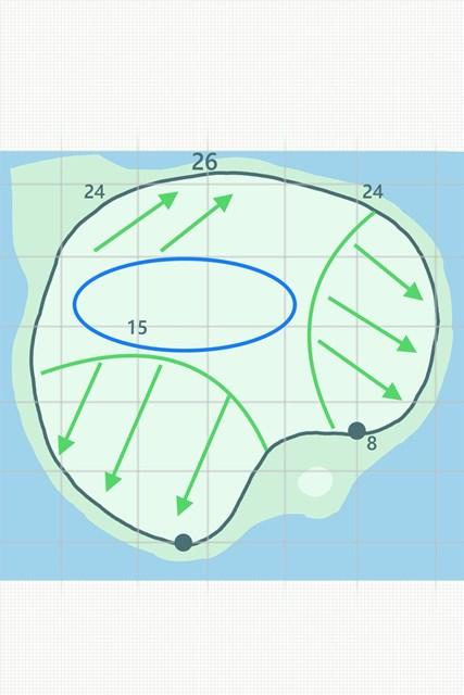 浮島グリーンには激しい傾斜がある。カップの位置によってスリリングな展開に