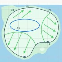 浮島グリーンには激しい傾斜がある。カップの位置によってスリリングな展開に 2019年 ザ・プレーヤーズ選手権 事前 TPCソーグラス 17番グリーン