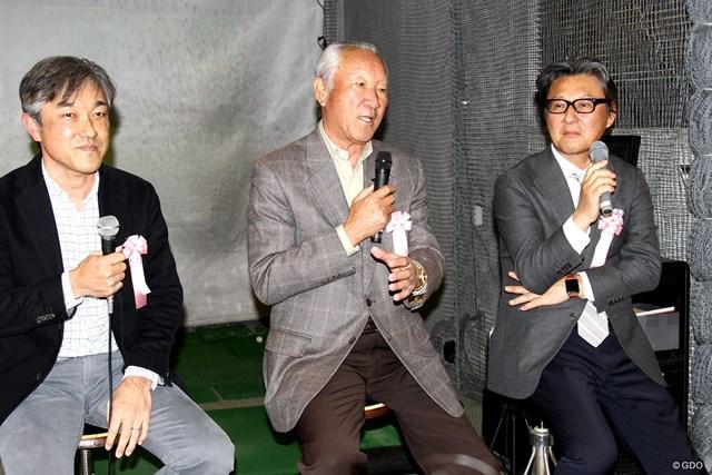 トークショーに参加した(左から)佐藤信人、青木功JGTO会長、宮本卓氏