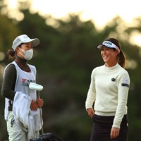 朝から雰囲気良さげ 2019年 ヨコハマタイヤゴルフトーナメント PRGRレディスカップ 最終日 福田真未