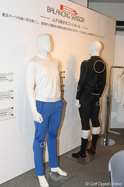 2010年 ホットニュース 宅島美香ウェア契約発表会 リズム&バランスには30、40代男性用のウェアもあるが、同社では機能性のインナーウェアもある