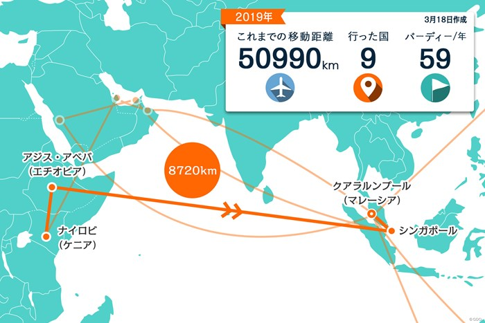 ケニアからはエチオピア、シンガポールを経由してマレーシアに 2019年 メイバンク選手権 事前 川村昌弘マップ