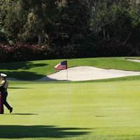 アメリカ国旗がピンフラッグの9番グリーン。アテンドするのはアーミーです 2019年 キア・クラシック 初日 9番グリーン