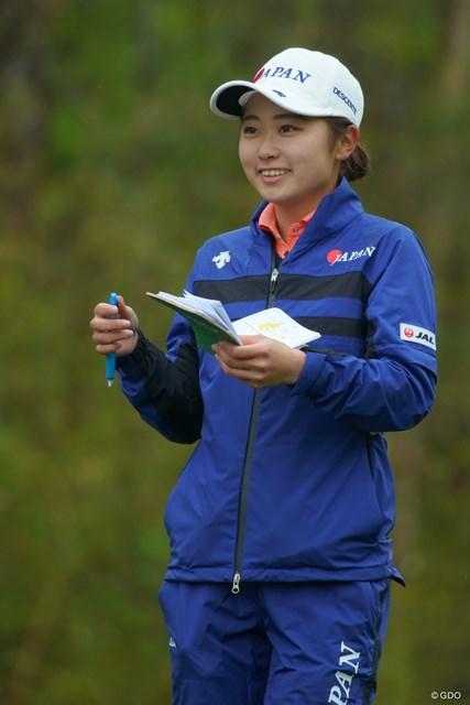 日本のナショナルチームの装いでプレーする安田祐香