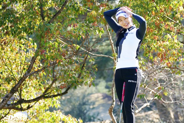 """2019年 ヤマハレディースオープン葛城 事前 ユ・ヒョンジュ 韓国では""""フィールド上のモデル""""と呼ばれているユ・ヒョンジュ"""