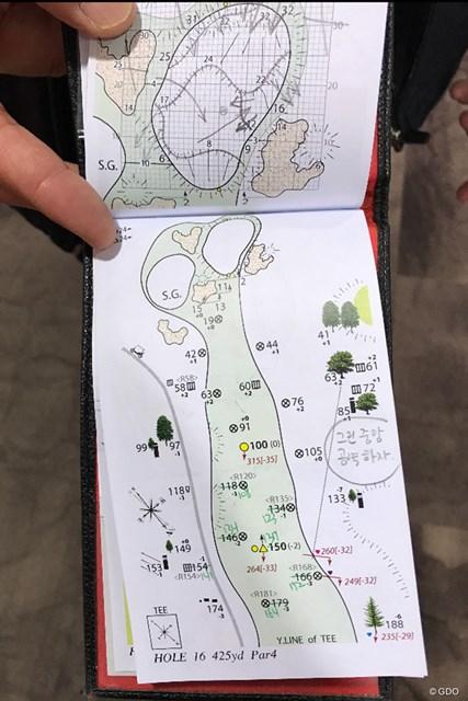2019年 ヤマハレディースオープン葛城 初日 イ・ミニョンのヤーデージブック メートルでの距離を手書きする
